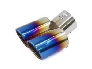 Curved Shape Dual Burn Tip Car Rear Exhaust Muffler End Trim Pipe 60mm Inlet Dia
