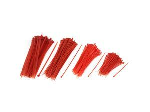 Cable Wire Management Self Locking Nylon Zip Tie Set Red 400 in 1