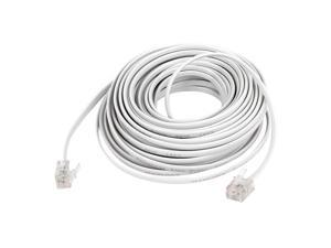 10M 33Ft Length 6P2C RJ11 Male Plug Phone Telephone Extension Cable Cord White
