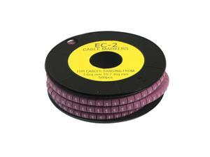 Unique Bargains EC-2 3.6-7.4mm2 Concave Shaped 1 Print Cable Marker Label Purple 500Pcs