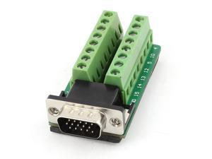 Unique Bargains D-SUB DB15 VGA Male 3Row 15Pin Plug to Terminal Breakout Board Connectors
