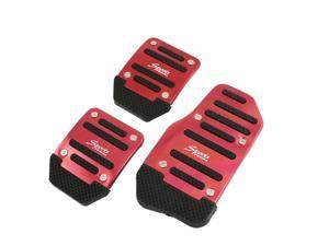 3 x Manual Car Gas Brake Clutch Pedal Pad Cover Set Black Red