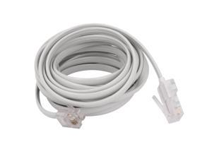 White RJ11 6P4C to RJ45 8P4C Modular Plug Telephone Network Extension Cable 10ft