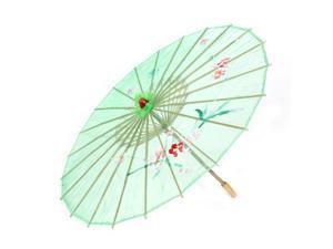 Flower Leaf Pattern Bamboo Cloth Dancing Umbrella Parasol Halloween Accessory