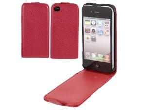 Red Litchi PU Leather Magnetic Flip Case Cover Protector for iPhone 4 4G 4GS 4th