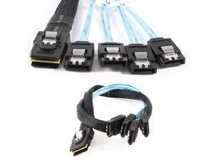 Mini SAS 36pin Host SFF-8087 to 4 SATA Target Cable Black Blue 50cm 1.6Ft