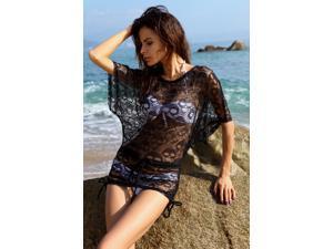 I-Glam  Black Mesh Skull Beach Wear Tunic Swim Cover Up Dress  Size Black Size S/L