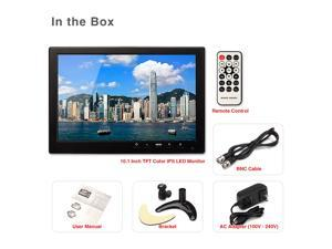 "Portable 10"" inch LED IPS Mini Monitor HDMI BNC VGA Video Audio 1280*800 HD Color Screen for PC CCTV Camera with Remote Control"