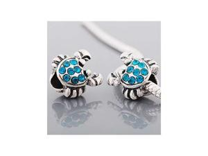 Antique Silver Aqua Blue Rhinestone Crab Charm Bead