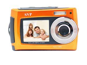 SVP AQUA Underwater 18MP Digital Camera + Camcorder w/ Dual LCDs Display - Orange + 8GB MicroSD