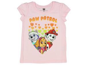Paw Patrol Little Girls Gittery Hearts Pink Shirt
