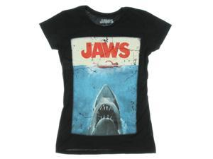 Jaws Movie Poster Juniors's Black T-Shirt