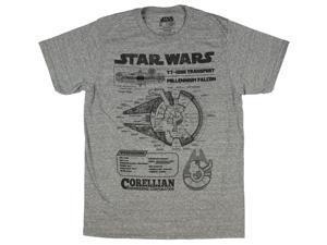 Star Wars Millennium Falcon Blueprint T-Shirt