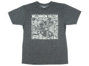 Star Wars Millennium Falcon Corellian Fighter Schematic Men's Graphic T-Shirt