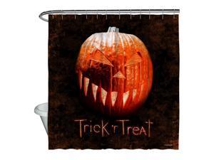 Trick R Treat Pumpkin Shower Curtain White 71X74
