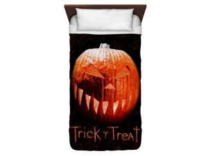 Trick R Treat Pumpkin Twin Duvet Cover White 68X88