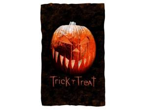 Trick R Treat Pumpkin Fleece Blanket White 48X80