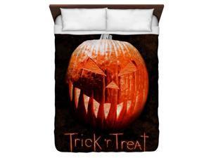 Trick R Treat Pumpkin Queen Duvet Cover White 88X88