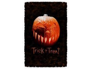 Trick R Treat Pumpkin Woven Throw White 48X80