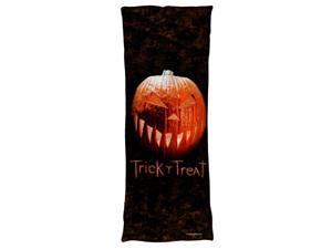Trick R Treat Pumpkin Microfiber Body Pillow White 18X54