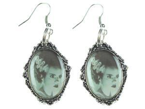 Rock Rebel Bride of Frankenstein Old Classic Monster Movie Silver Tone Earrings