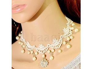 Have one to sell? Sell nowFashion White Lace with Gems Flower Pandent Faux Pearl Collar Necklace