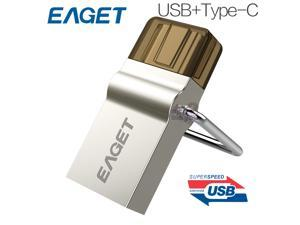 EAGET CU10 16GB Type-C 3.1 USB3.0 Dual Interfaces Micro USB OTG Flash Drive 16G Metal U Disk Pendrive Smartphone Mobile Cell Memory Stick Portable
