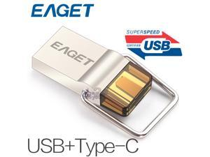 EAGET CU10 32GB Type-C 3.1 USB3.0 Dual Interfaces Micro USB OTG Flash Drive 32G Metal U Disk Pendrive Smartphone Mobile Cell Memory Stick Portable