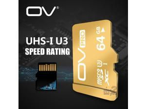 OV PRO 64GB Ultra High Speed Class10 SDXC UHS-1 U3 MicroSD TF Flash Micro SD Card 64G for Mobile Cell Phone Smartphone Tablet PC 4K Cam Memory Expand Storage
