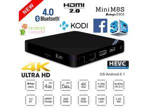 NEW Mini M8S 4K UHD Quad Core 64bit 2GB 8GB eMMC Android 5.1 Smart TV Box KODI Mini PC Media Player Internet Streamer Bluetooth 4.0 HDMI 2.0 WiFi H.265 HEVC