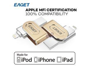 MFI Licensed Certified EAGET i80 32GB USB 3.0 OTG Metal Flash Drive Disk 32G Memory Expand for PC iOS iPhone iPad iPod AES 256-Bit encryption
