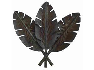 Metal Palm Wall Decor With 3 Distress Palm Leaves - 22942
