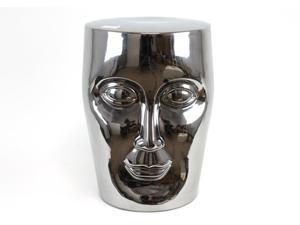Alluring Ceramic Garden Stool Silver Finish