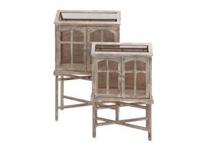 The Beautiful Set of 2 Wood Metal Bird Cage