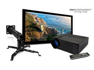 Favi 720p LCD Projector with 150 inch Fixed-Frame Screen - 16:9 and Mount