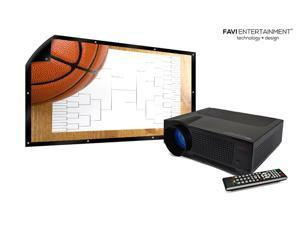 """FAVI HD Ultra Bright LED Projector and 100"""" HD Outdoor Screen (B-LED4T-PWMHD100)"""