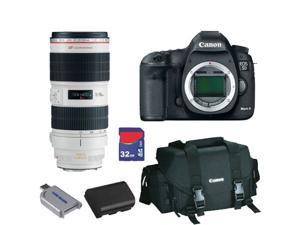 Canon 5D: EOS 5D Mark III 22.3 MP Full Frame CMOS with 1080p Full-HD Video Mode DSLR Camera (Body) Lens Kit + EF 70-200mm f/2.8L IS II USM Telephoto Zoom Lens + Canon Gadget Bag + 32GB Best Camera Kit