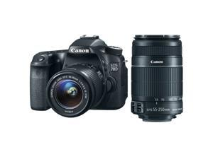 Canon 70d EOS 70D 20.2 MP DSLR Camera with EF-S 18-55mm IS STM and Dual Pixel CMOS AF + Canon EF-S 55-250mm f/4.0-5.6 IS II Telephoto Zoom Lens