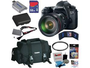 Canon 6d EOS 6D 20.1 MP CMOS Digital SLR Camera with EF 24-105mm f/4 L IS USM Lens + Canon Gadget Bag + LP-E6 Battery + 7pc Bundle 32GB Accessory Kit