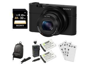 Sony RX100 DSC-RX100 20.2 MP Exmor CMOS Sensor Digital Camera with 3.6x Zoom + 32GB Class 10 Memory Card + Extra Sony NPBX1 Battery Bundle