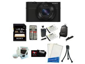 SONY DSC-RX100 RX100 RX100B DSCRX100 20.2 MP Exmor CMOS Sensor Digital Camera with 3.6x Zoom Bundle with Sony 32GB Memory Card + Wasabi Power Replacement Battery and Charger Kit + Carrying Case