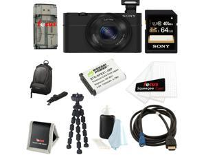 Sony DSC-RX100 RX100 RX100B DSCRX100 20.2 MP Exmor CMOS Sensor Digital Camera With 3.6x Zoom Bundle + Sony 64GB Class 10 Memory Card + Wasabi Power Replacement NP-BX1 Battery + Sony Camera Case Kit