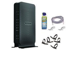 Netgear N300 WiFi Cable Modem Router + 14-foot RJ45 CAT5E Snagless Networking Cable + 8oz Air Duster + Hot Wires Cable Ties