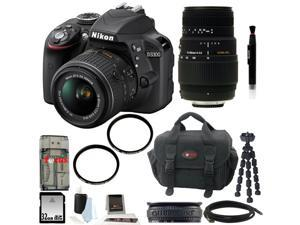 Nikon D3300 DSLR Camera with 18-55mm and 55-300mm Lens Bundle and 32GB Deluxe Accessory Kit