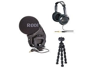 Rode Stereo VideoMic Pro On Camera Stereo Microphone with 7-inch Mini Flexible Spider Tripod and JVC HARX300 Full-Size Headphones