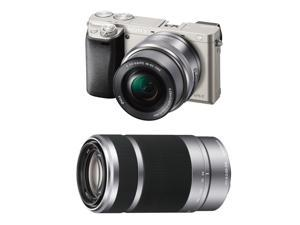 Sony A6000:  Sony Alpha a6000 24.3MP Digital Camera with 16-50mm Power Zoom and Sony E 55-210mm f/4.5-6.3 OSS E-Mount Lens (Silver)