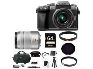Panasonic G7: Panasonic LUMIX G7 Interchangeable Lens (DSLM) Camera Kit with 14-42mm Lens Silver + Panasonic LUMIX G Vario 45-150mm f/4.0-5.6 ASPH Lens - Silver + 64GB Accessory Bundle