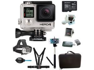 Refurbished: GoPro HERO 4 BLACK Edition Camera HD Camcorder With Sony micro SDHC/SDXC 32GB Accessory Bundle