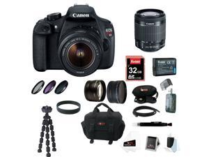 Canon T5: EOS Rebel T5 DSLR Camera with EF-S 18-55mm IS II Lens + 32GB Memory Card + Extra Battery Pack + Deluxe Accessory Kit
