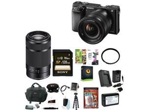 Sony a6000: Sony Alpha a6000 24.3 MP Mirrorless Digital Camera (Black) with Two Lenses (16-50mm & 55-210mm) and Accessory Bundle